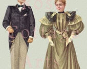 Digital Download Large Antique Family Paper Dolls 'Mother & Father' Die Cut Victorian Scrap Graphic Image