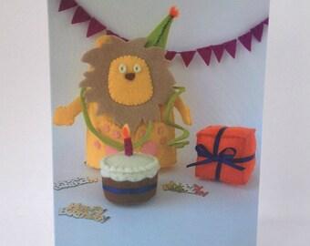 Happy Birthday Card Lemon Lion animals zoo fun celebration party