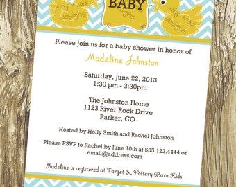 Baby Ducks- Baby Boy Shower Invitations or Gender Neutral Baby Shower, Twins Baby Shower, DIY Printable, digital file (item 1096)