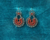 Vintage Filigree Silver (.925) Earrings with Coral Stones