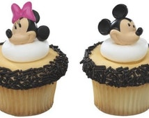 Mickey and Minnie Mouse Ring Cupcake Toppers, Cupcake Toppers