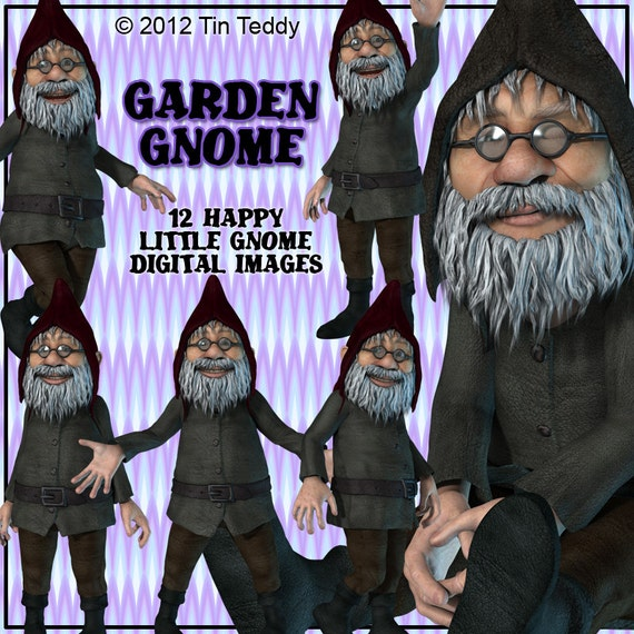 Garden Gnome Clip Art 12 High Res Printable Images for your birthday card making & other crafts Digital gnome art Printable Gnomes