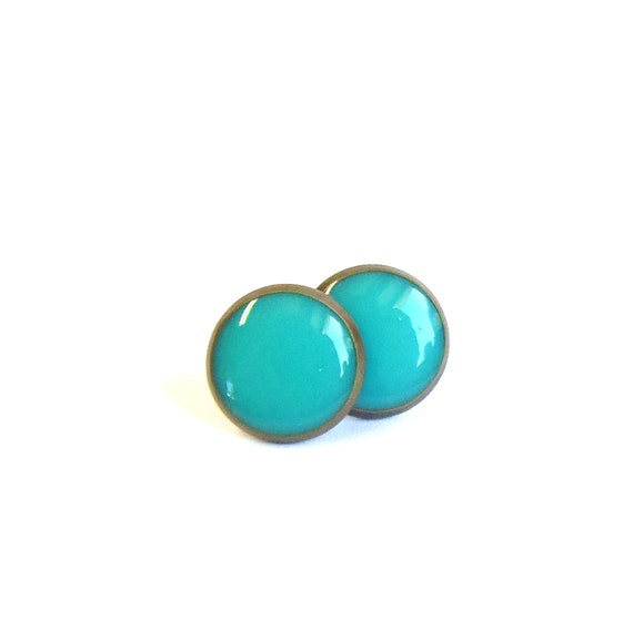 Turquoise stud earrings tiny earring studs