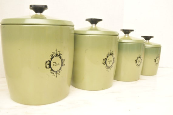 vintage aluminum green kitchen canister set vintage green glass daisy amp button kitchen counter