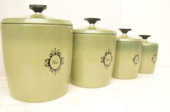 vintage aluminum green kitchen canister set