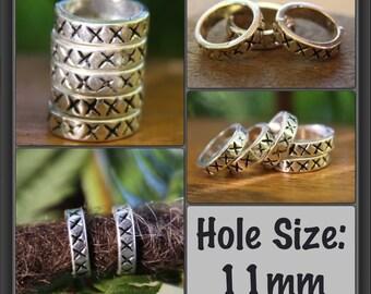 10 (11mm) Tibetan Silver x x Rings DREADLOCK BEADS 11mm Hole