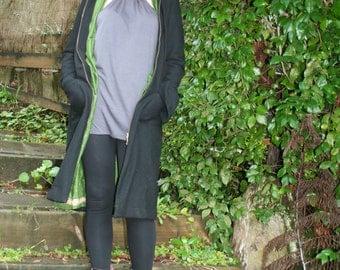 Fine Reclaimed Black Italian Wool Coat - Pure silk lining - Made in New Zealand - All natural eco-friendly fabrics