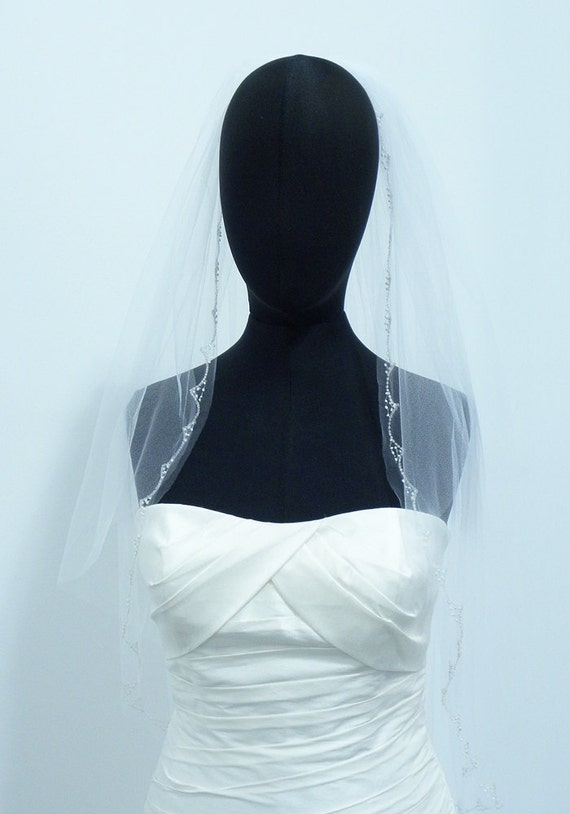 White Fingertip Two Tier Hand Beaded Embroidered Bridal Veil Wedding Accessory