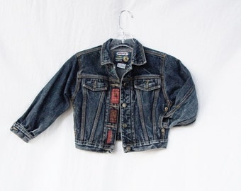 Boys denim trucker jacket child's jean jacket vintage Jordache dark blue denim unisex childs size M