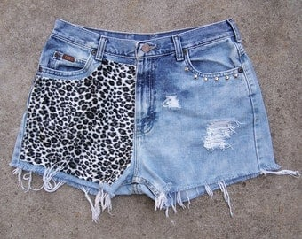 "Studded LEE high waisted booty shorts bleached destroyed vintage denim festival cut offs animal print leopard  30"" waist"