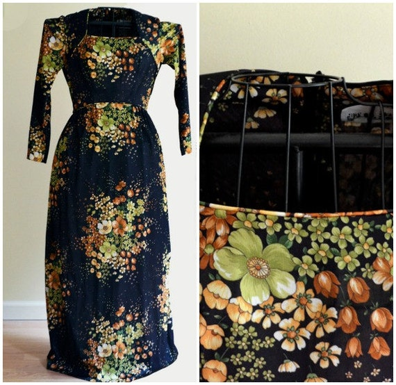 Vintage Black, Green & Brown Floral Hippie Maxi Dress Small  - 1970s