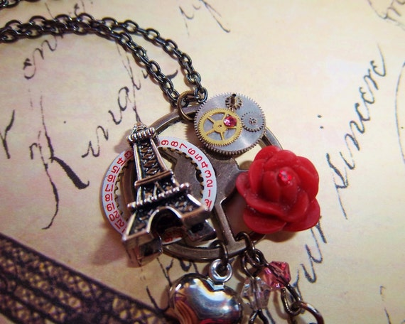 RESERVED for kris204: Steampunk Eiffel Tower Necklace