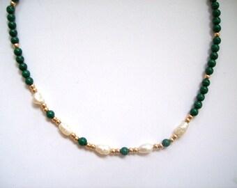 Vintage Choker Freshwater Pearls, Malachite, Beads 14K