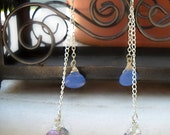 Sterling Silver Earrings dangle 3 Wire Wrapped Briolettes from Shoulder Duster lengths of sterling chain