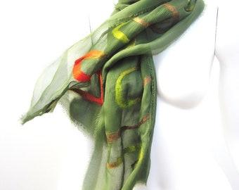 Scarf Autumn Fashion Silk Merino Nuno Felt Wrap Olive Green Fall Shawl