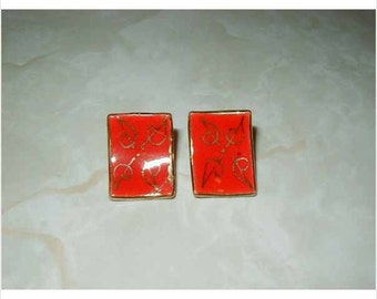 Antique Red Leaf Earrings  Asian  1950's