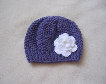 Hand knitted Purple Hat with White Flower. Purple Beanie for Girls. Girl's Beanie. Made to order Beanies. Custom made Beanies