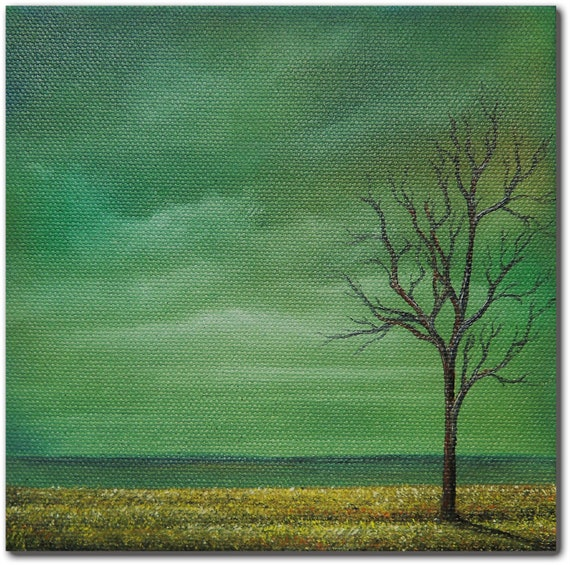 Original Stormscape Oil Painting, Contemporary Landscape Painting with Stormy Sky and Bare Tree, Wall Decor , 6 x 6 x 1.5, The Calm Before