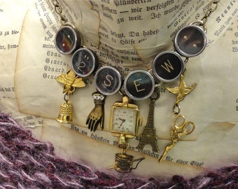 Custom Typewriter Key Necklace Sewing Necklace Seamstress Charms Thimble Needle Thread Sewing Scissors Eiffel Tower Bird Bee