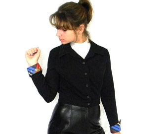 70s Mod Crop Jacket. Vintage Black Jacket. Multicolor Cuffs. Mad Men Fashion. Size S. Spring Fashion. Black Blue Red