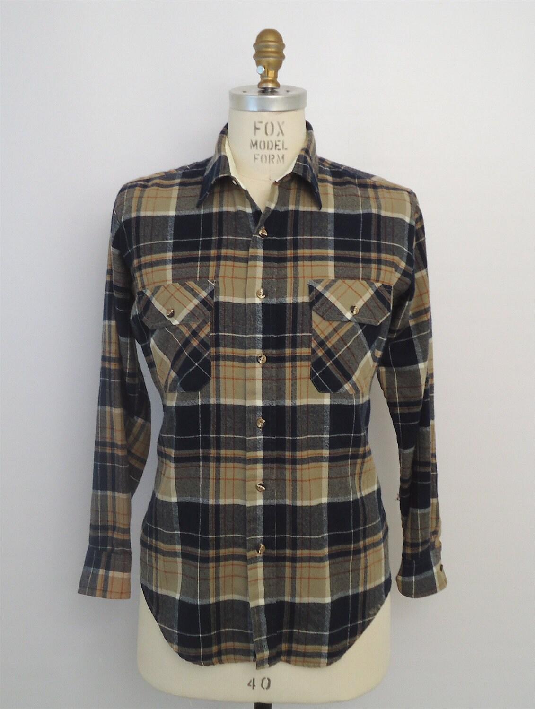Rugged Plaid Flannel Navy Blue Tan Plaid Shirt Vintage