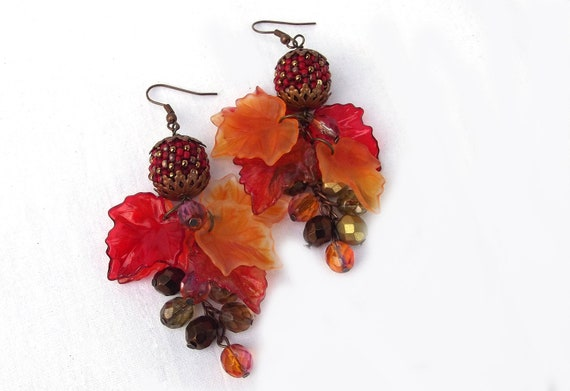 Beaded Bead and Colorful Fall Foliage Acrylic Leaf Earrings  Gift under 25