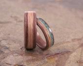 Handmade Turquoise and Oak Inlay In Walnut Bentwood Wedding Set, Anniversary Ring