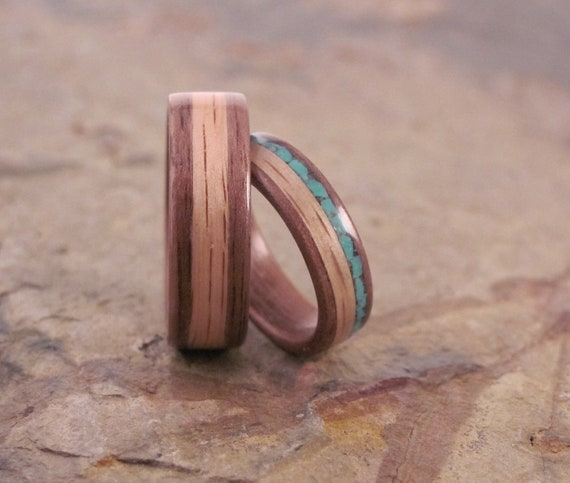 Handmade Turquoise and Oak Inlay In Walnut Bentwood Wedding Set, Anniversary Ring