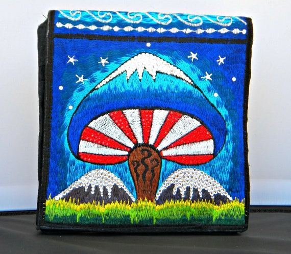 Rainbow Hippie Hobo Purse Bag Cross Body from Nepal w/ Swarovski Rhinestone Crystals Mushroom Embroidery Shroom Bling Messenger Backpack