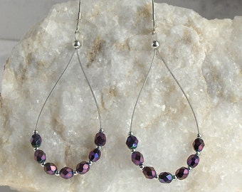 Sparkle Purple Bead Teardrop Numerology Dangle Earrings, Czech Fire Polished Beads, Sterling Silver Earwires - Spirit of Seven Numerology