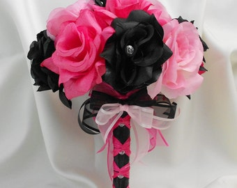 Wedding Bridal Bouquet Your Colors Hot Pink Black Pink Bridesmaids Bouquet Roses Toss  Boutonniere Corsages  FREE SHIPPING