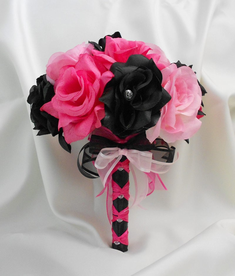 Dark Pink Wedding Flowers: Wedding Bridal Bouquet Your Colors Hot Pink Black Pink