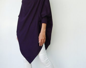 NO.59 Dark Violet Cotton Jersey  Batwing Tunic, Loose Asymmetrical  Sweater, Women's Top