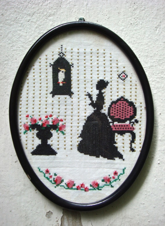 Dutch embroidery in frame - 60s