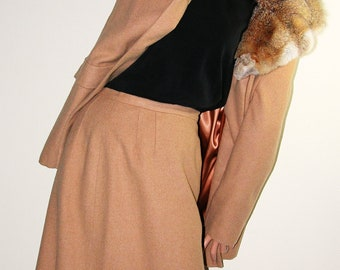50s 60s Camel Jacket - huge face-framing Fur Collar and matching skirt suit- fully lined-LAWSON ORIGINAL- medium