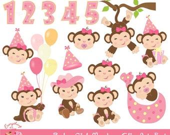Baby Girl Monkey Clip Art Set