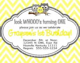 Look WHO's Turning ONE- Owl, Chevron Birthday Party Invitation