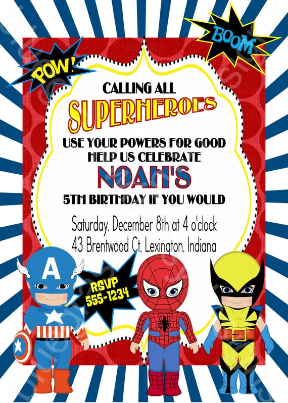 like this item - Superhero Birthday Party Invitations