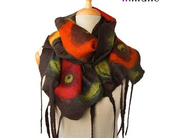 SALE!!!  nuno felted brown scarf, red orange fruits of the autumn - silk wrap wool nunofelted scarf, felted eco shawl, felted wool scarf
