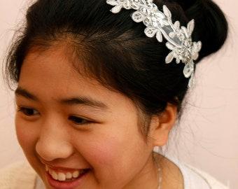 Wedding/Bridesmaid headband/head piece - Silver lining