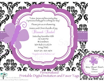 Damask Purple Butterfly Baby Shower Invitation /Favor Tags Set