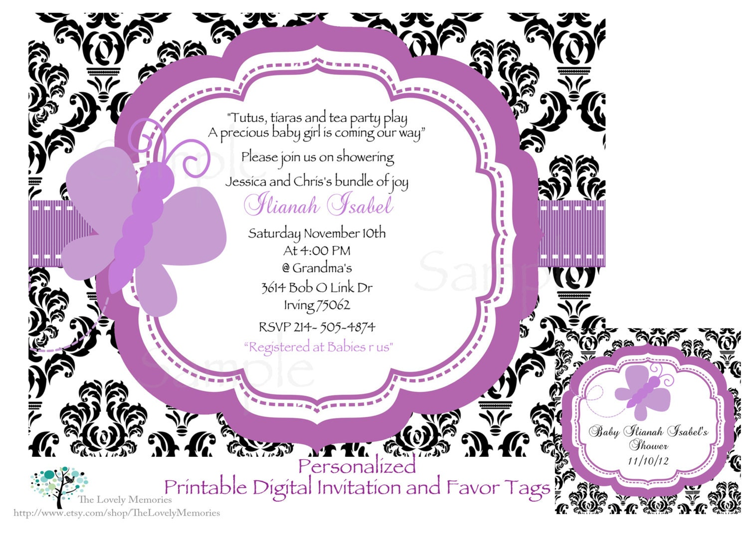 damask purple butterfly baby shower printable by thelovelymemories, Baby shower
