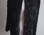 VINTAGE silk and sequin vest jacket black