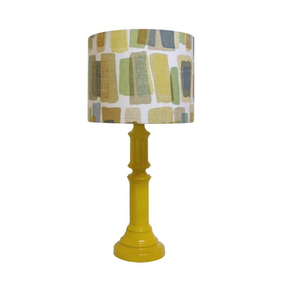 Yellow Lamp vintage updated  handcrafted lampshade 14 inch drum lamp shade Halmstad Mosaic by Robert Allen At Home