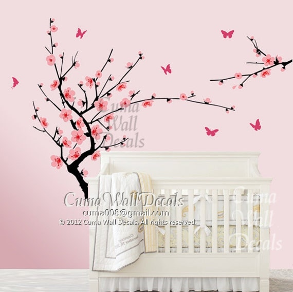 Cherry blossom wall decal butterfly wall decals nursery by for Cherry blossom tree mural