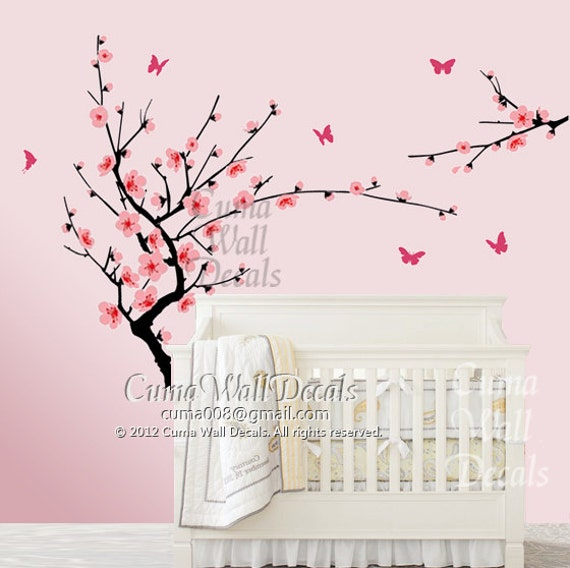 Cherry blossom wall decal butterfly wall decals nursery by for Cherry blossom tree wall mural