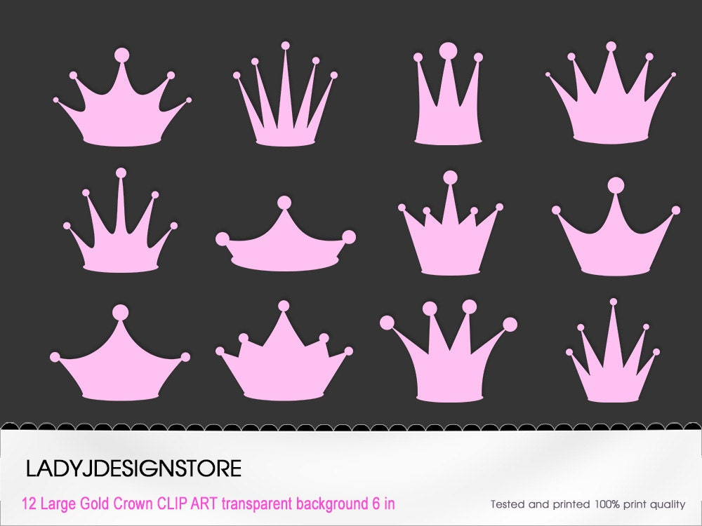 Pink Princess Crown Clip Art 12 Digital Clipart Pink Crowns