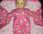"Doll Clothes Made to Fit Bitty Baby and other 15"" Dolls Hot Pink Hello Kitty Sleeper, Blanket and Headband"