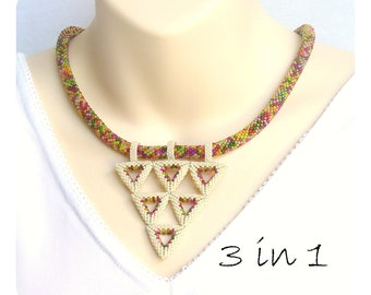 Geometric Necklace, Statement Collier, Bead Crochet Rope, Interchangable Jewelry, Beaded Triangle Necklace, Bead Art Jewelry