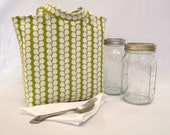 Quart size jar lunch bag  - Designer fabric Jars to Go Bag mason canning jar lunch tote bag carrier